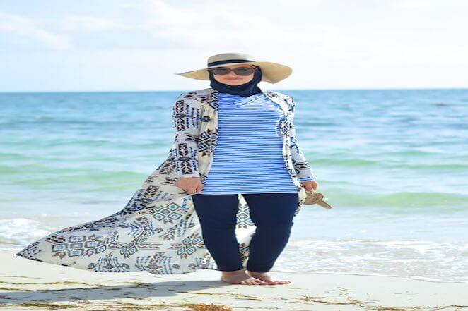 modest beach outfit  with hat